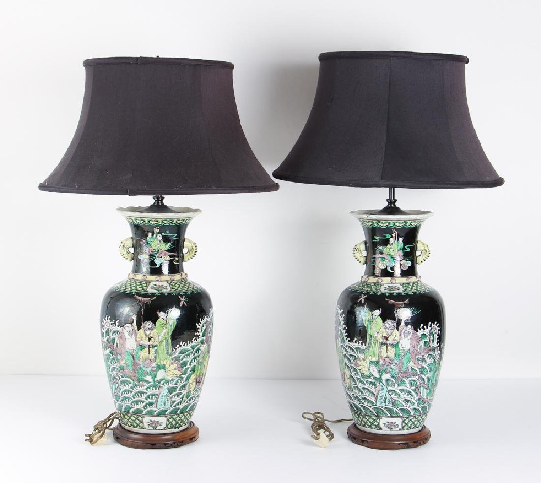 Black Glazed Chinese Vases Mounted as Lamps