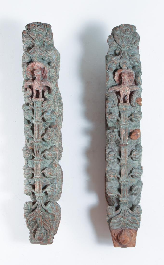 Pair Indian Carved Painted Wooden Architectural