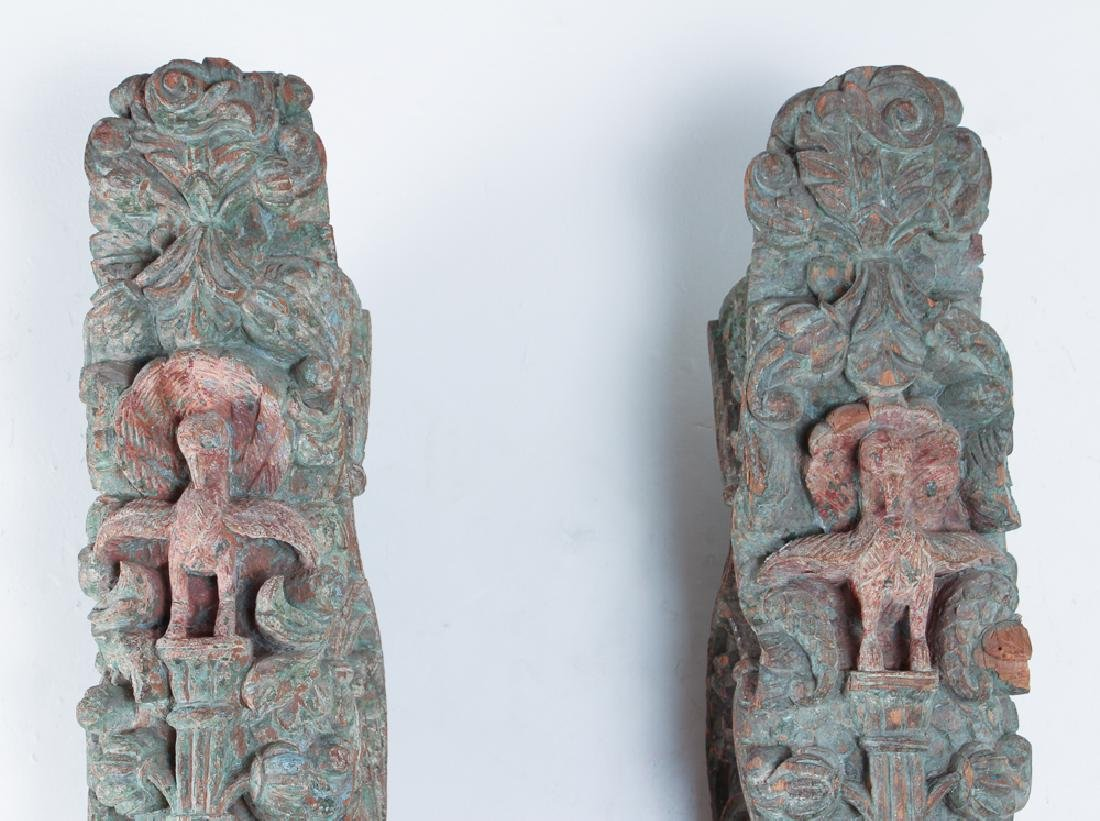 Pair Indian Carved Painted Wooden Architectural - 2