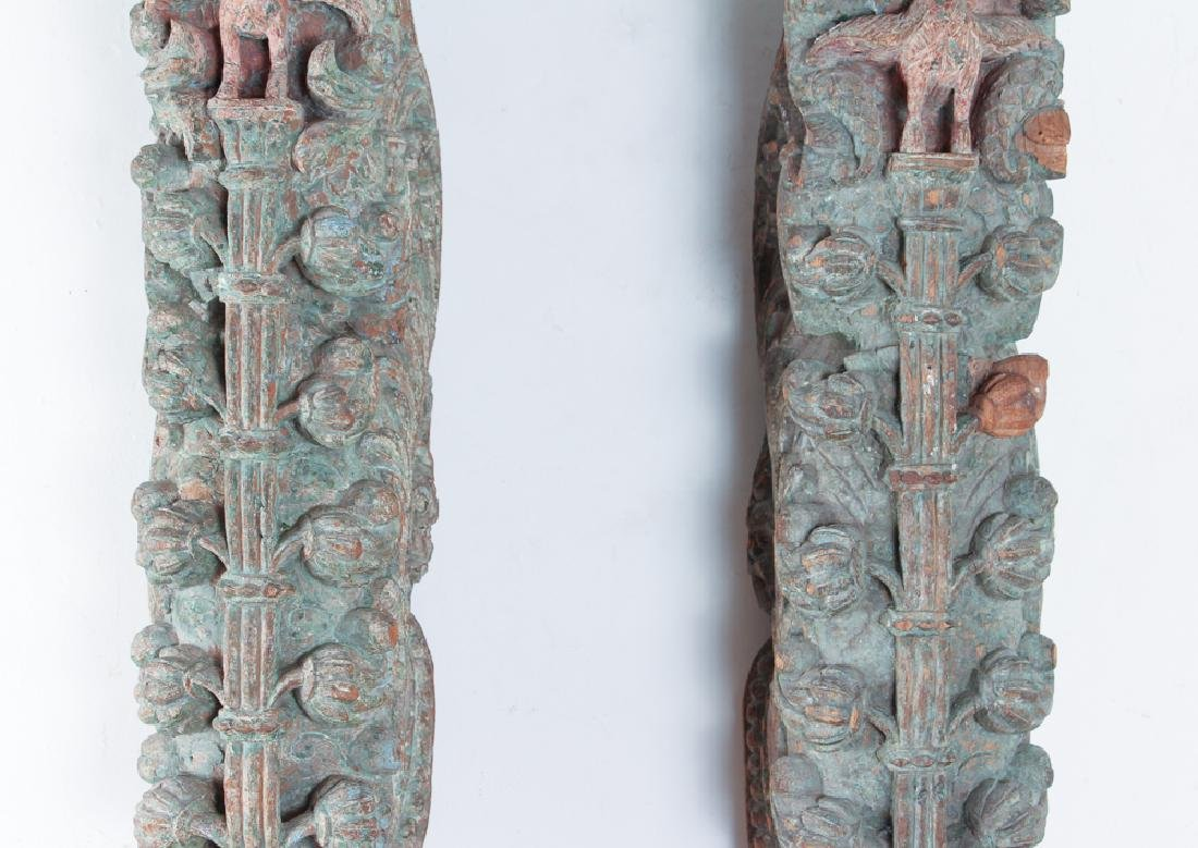 Pair Indian Carved Painted Wooden Architectural - 3