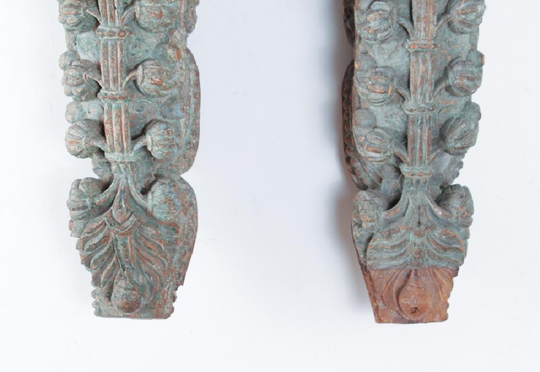 Pair Indian Carved Painted Wooden Architectural - 4