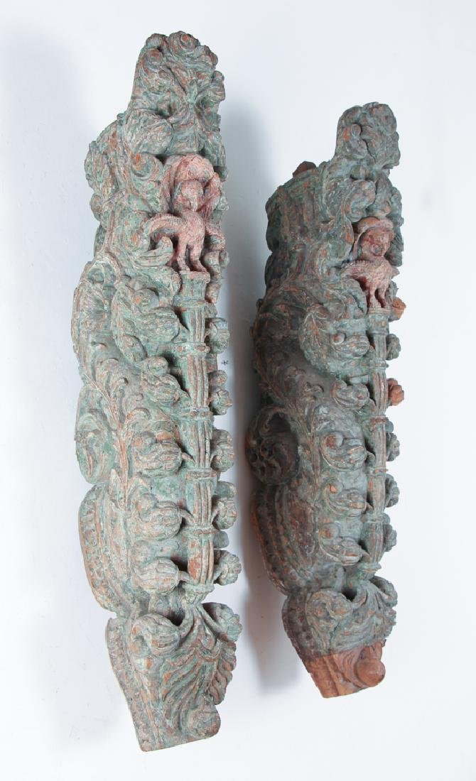 Pair Indian Carved Painted Wooden Architectural - 7