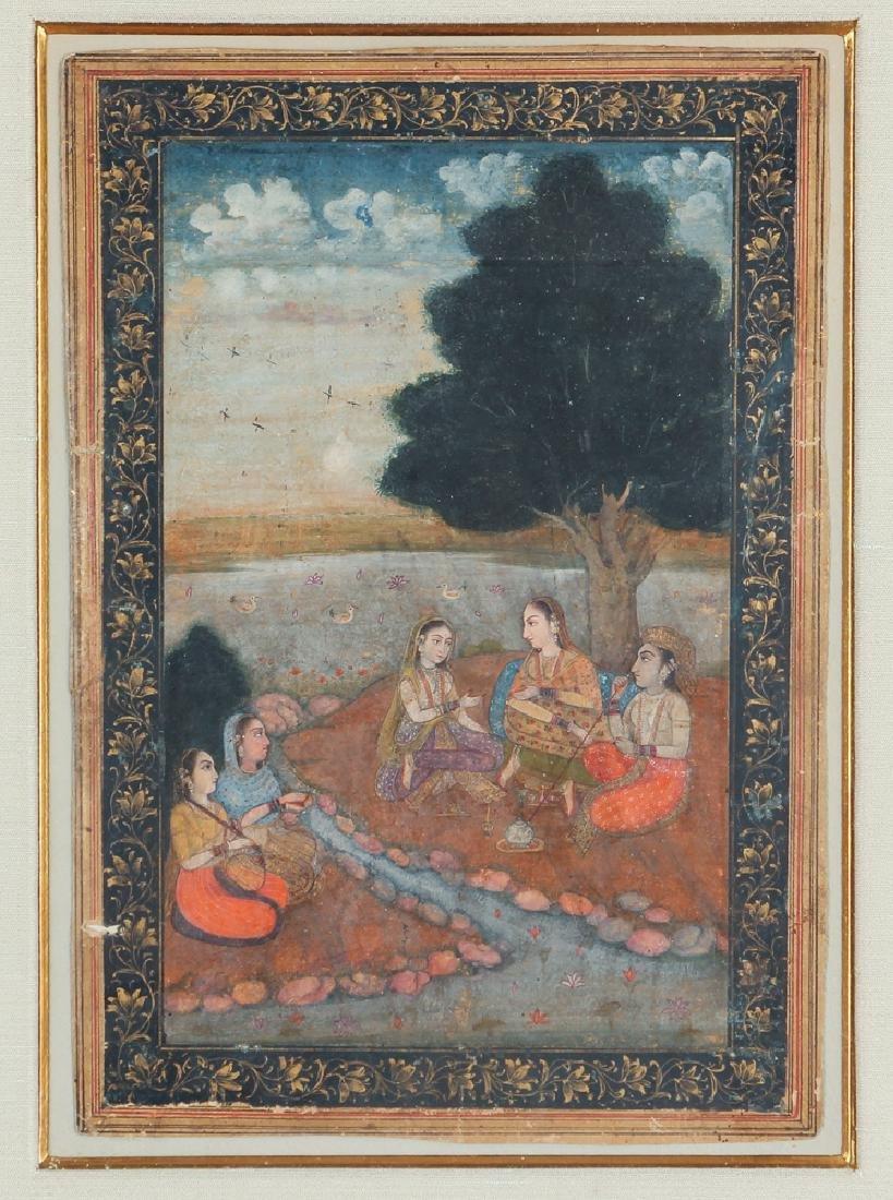 Indian Miniature Painting Princess Listening to Music