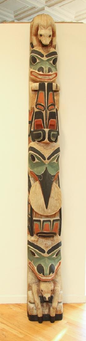 Northwest Coastal Carved and Polychromed Totem