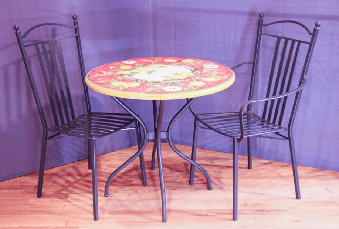 Italian Designer Faience Table and Chairs by Venere