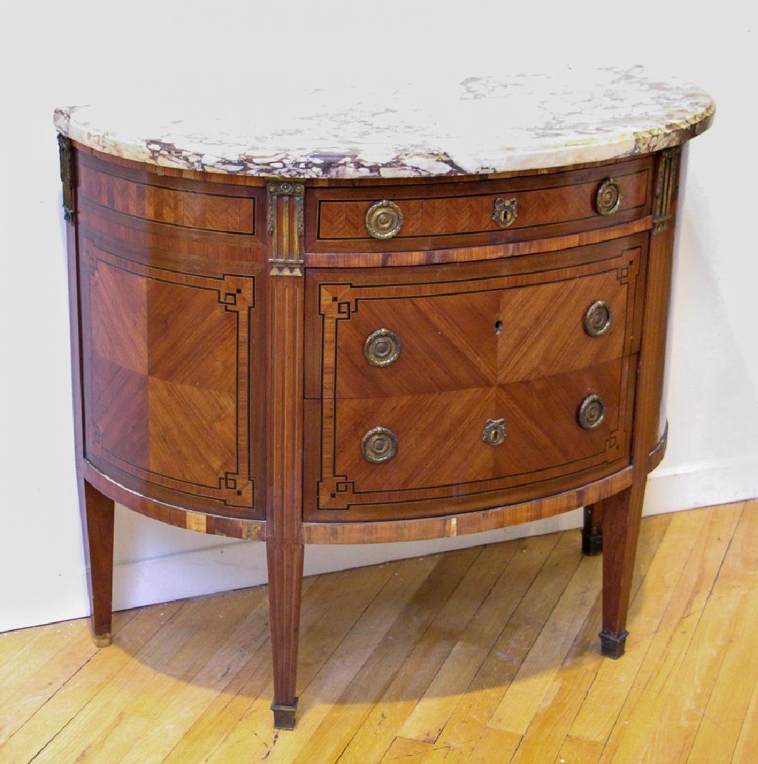 Antique French Demilune Commode - 2