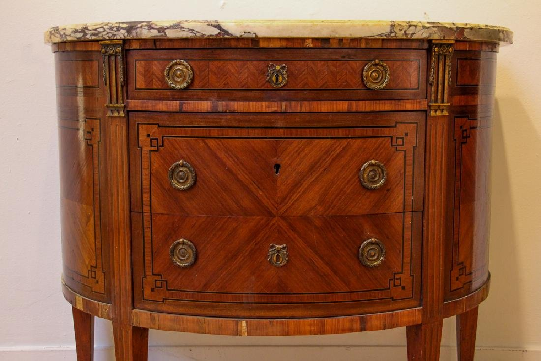 Antique French Demilune Commode - 5