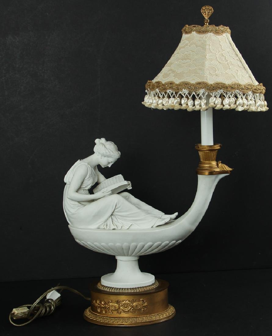 After Antonio Canova Parian Ware Lamp