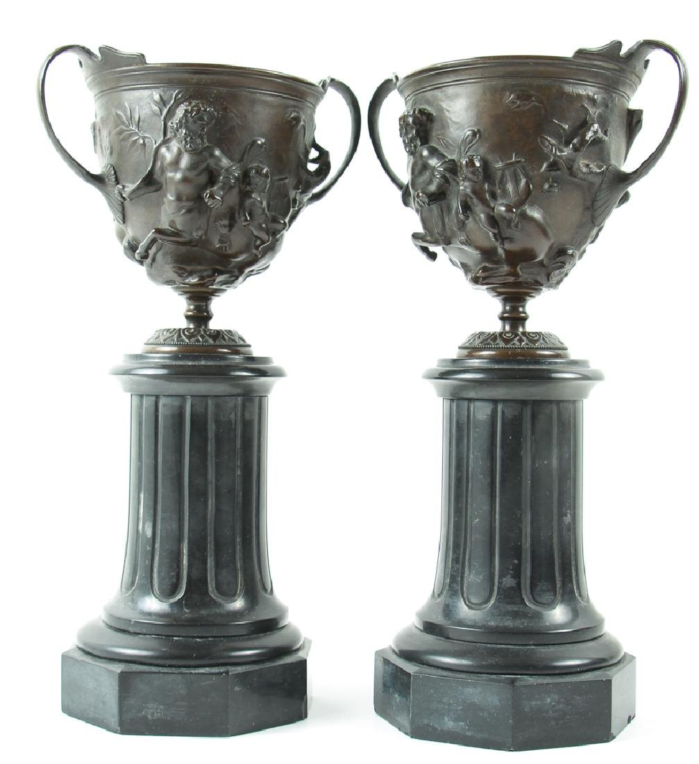 Pair of Bronze and Slate Greek Revival Garniture
