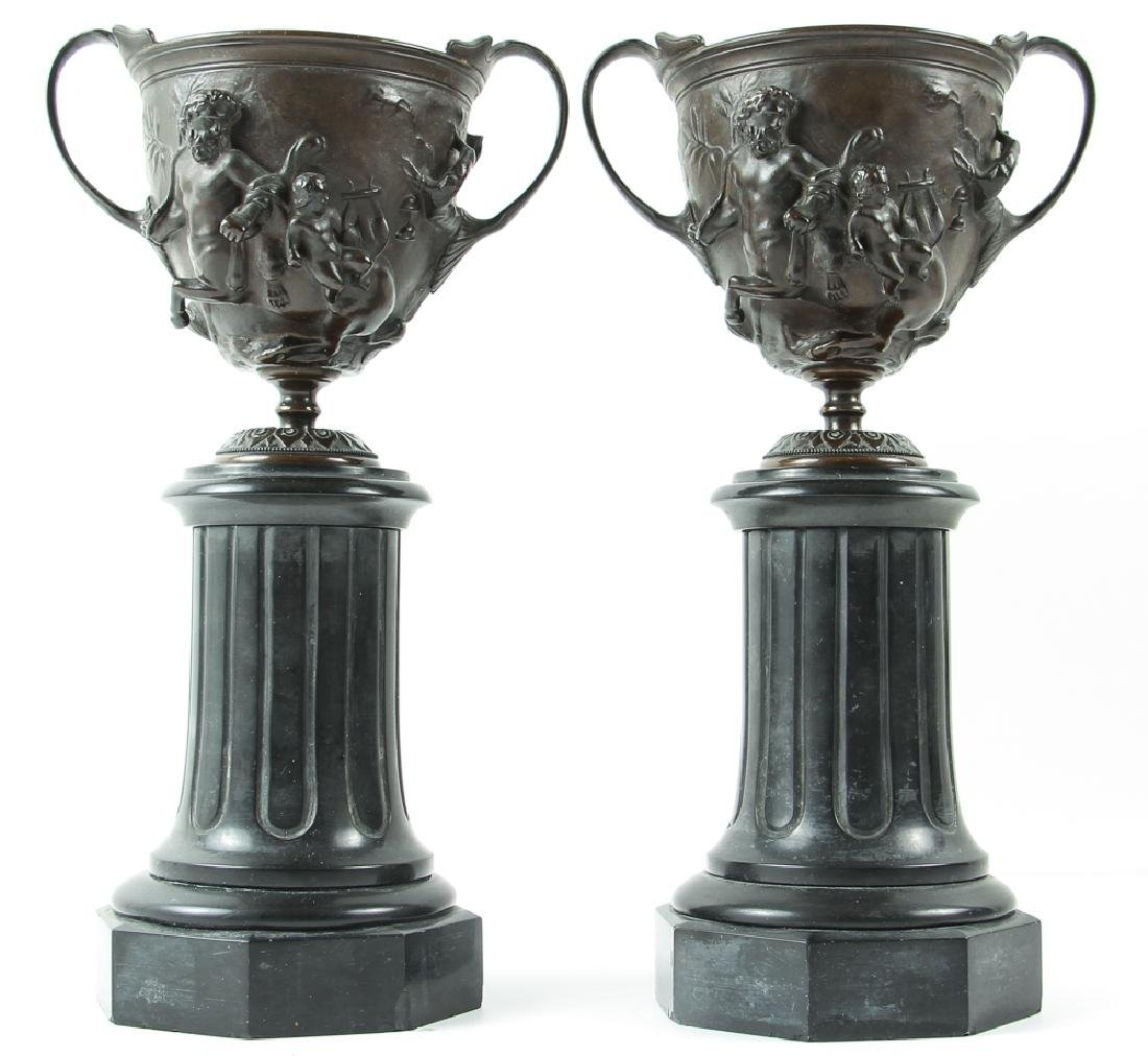 Pair of Bronze and Slate Greek Revival Garniture - 2