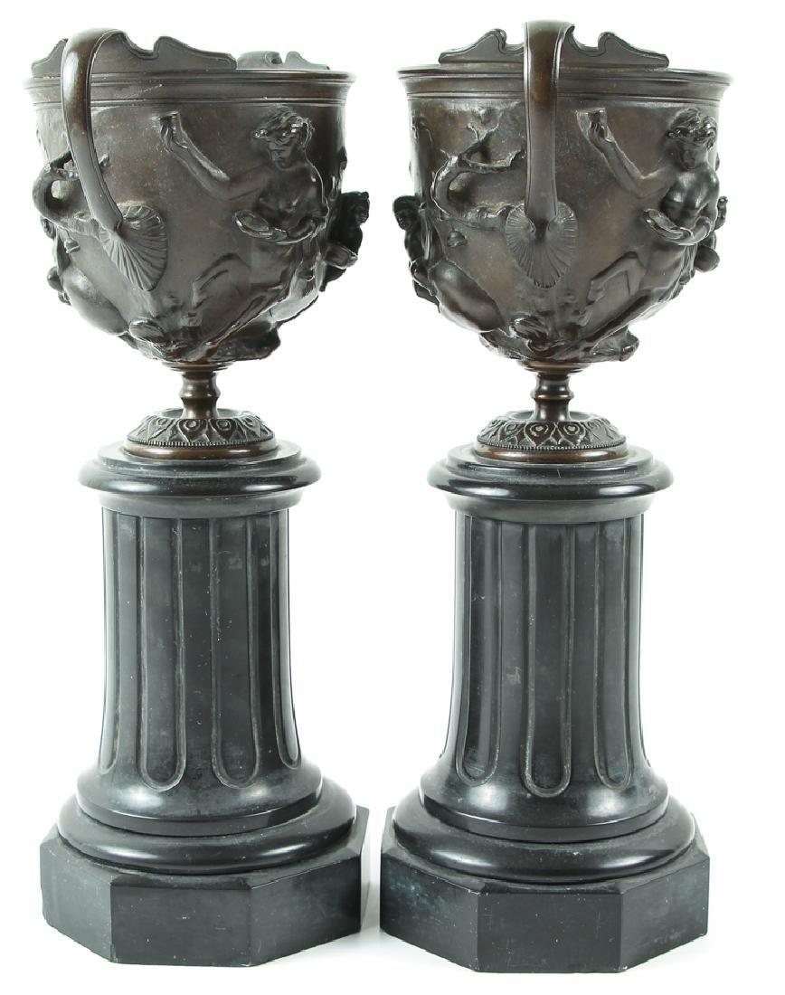 Pair of Bronze and Slate Greek Revival Garniture - 3