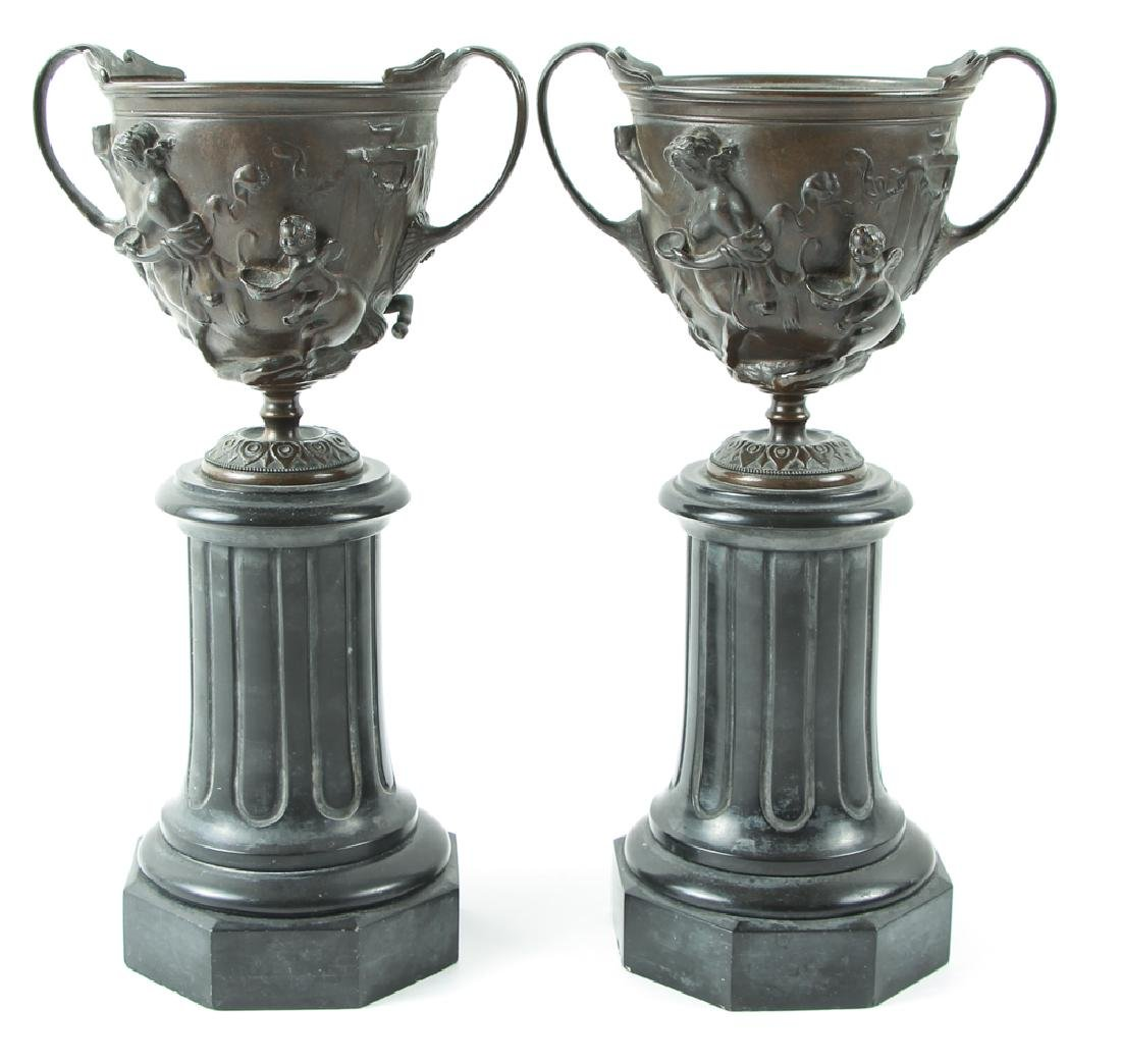 Pair of Bronze and Slate Greek Revival Garniture - 4