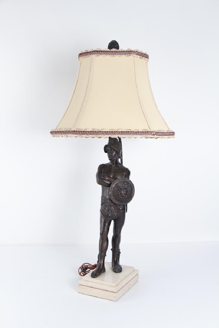 Ancient Greek Soldier Bronze Lamp