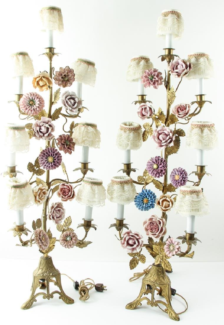 Pair of Meissen Style Flowers and Garniture Lamps