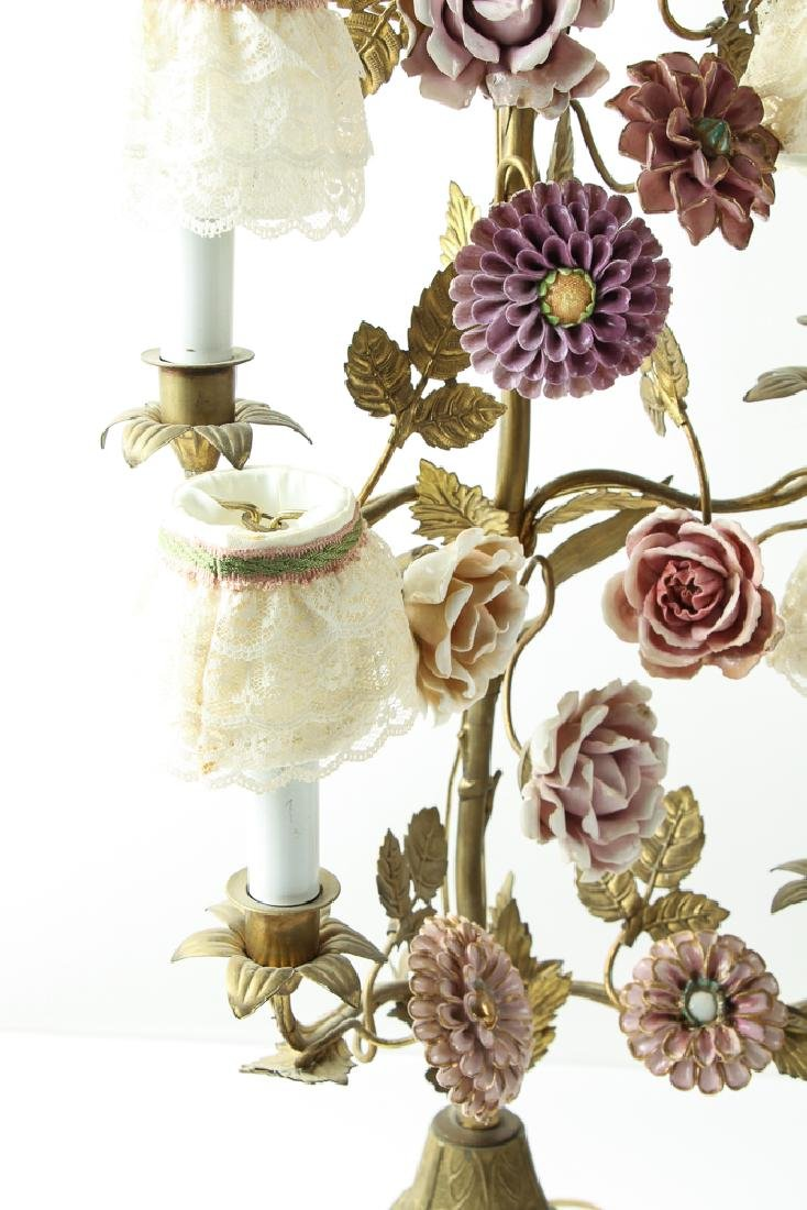 Pair of Meissen Style Flowers and Garniture Lamps - 3
