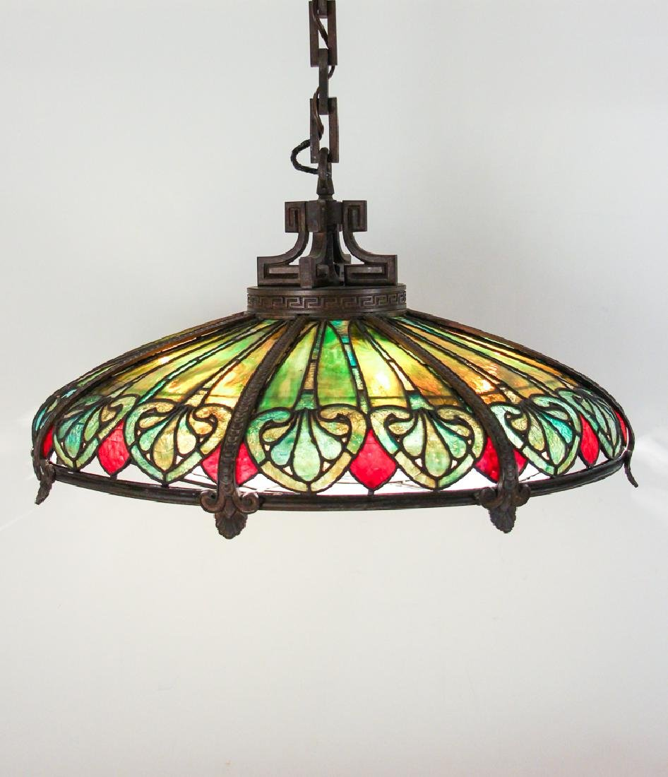 Gorham or Caldwell Attrib. Stained Glass Chandelier