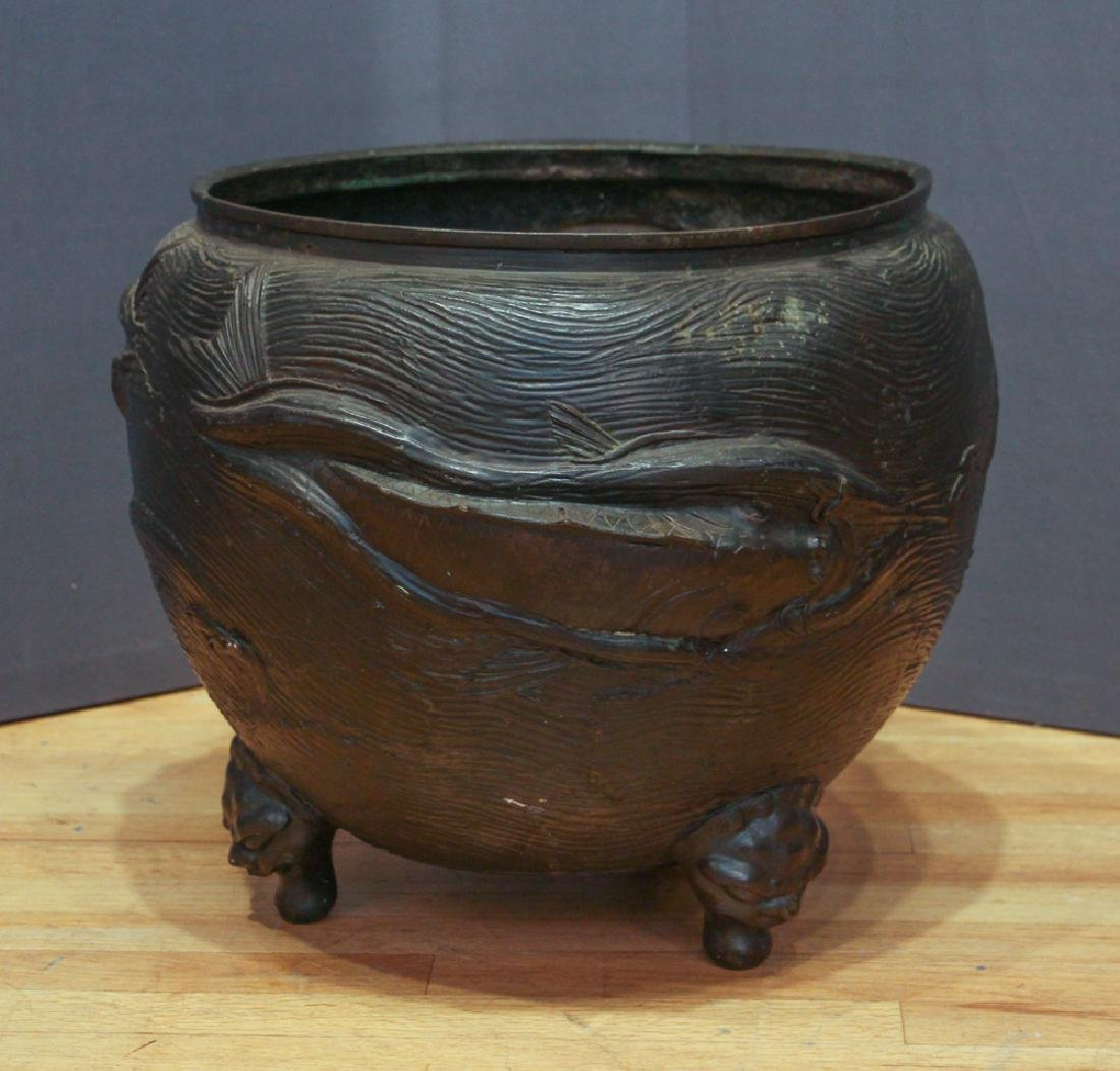 Large Japanese Bronze Fish Themed Jardiniere