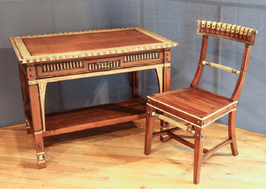 Lisbon Decorated and Carved Desk and Chair Set
