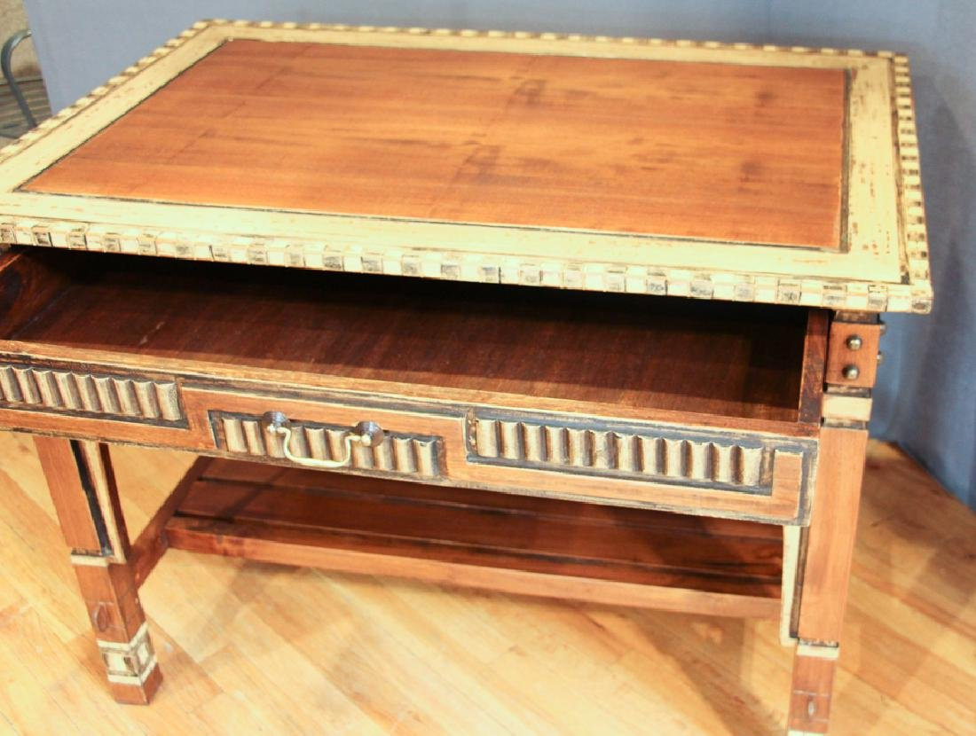 Lisbon Decorated and Carved Desk and Chair Set - 2