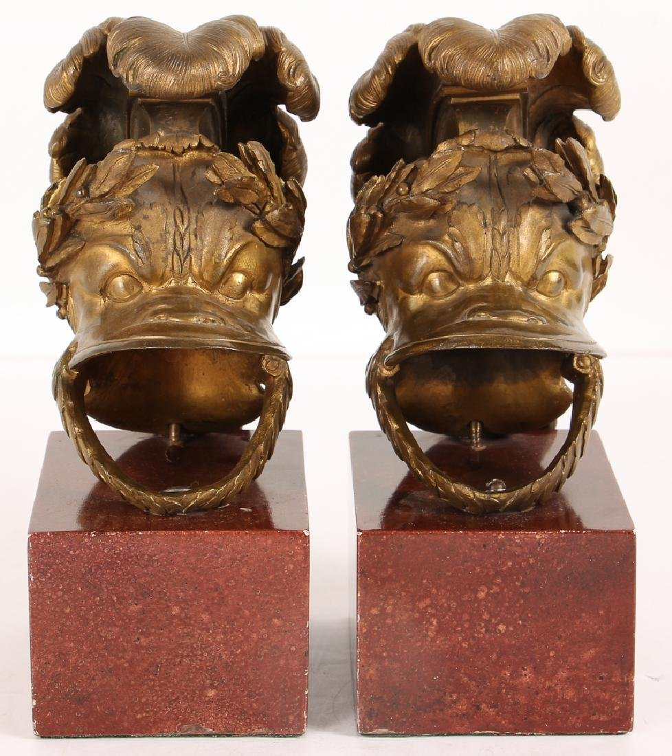 pair bronze miniature Helmets mounted on marble bases