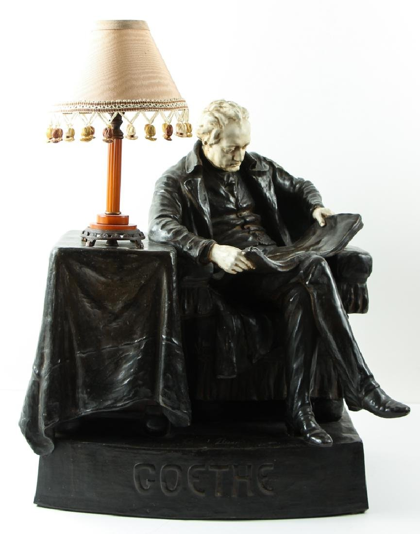 Goethe Reading Bronze over Plaster Sculpture