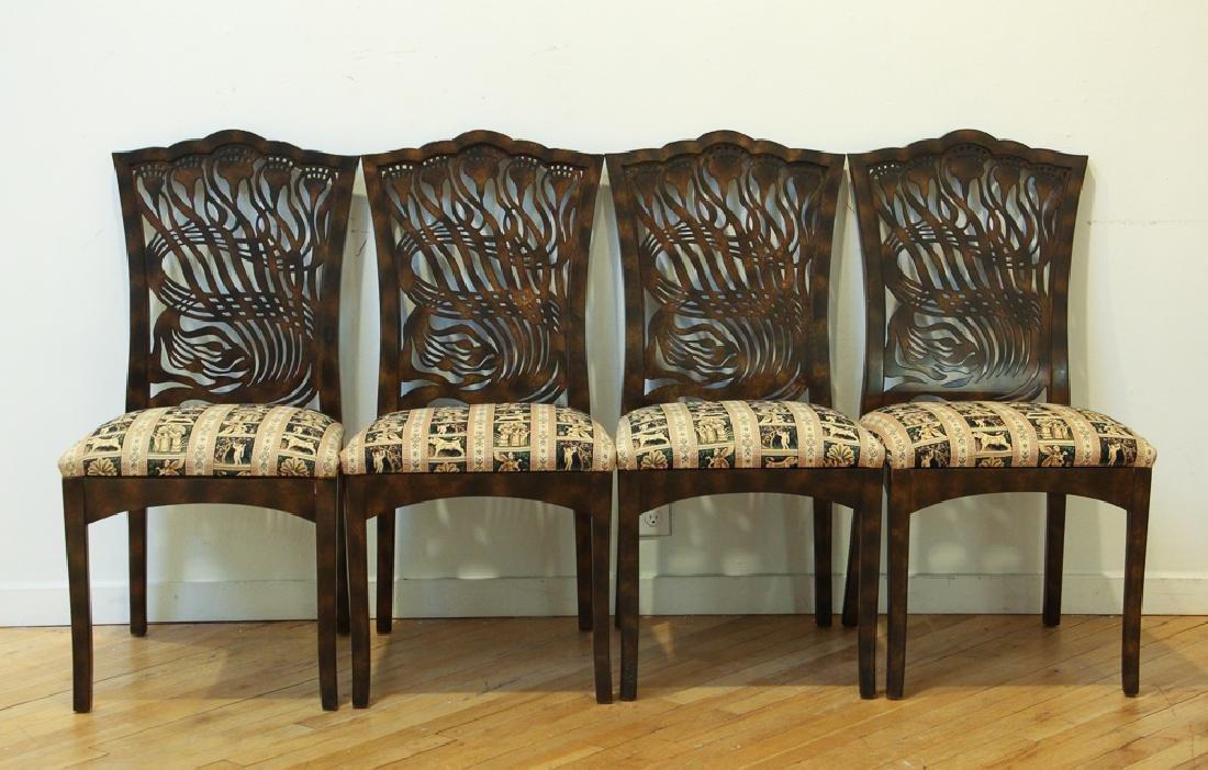Set of Four Art Nouveau Lacquer Chair Reproductions