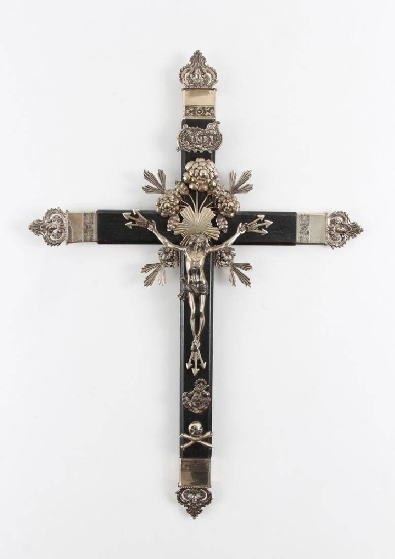 Silver and Ebonized South American Style Crucifix