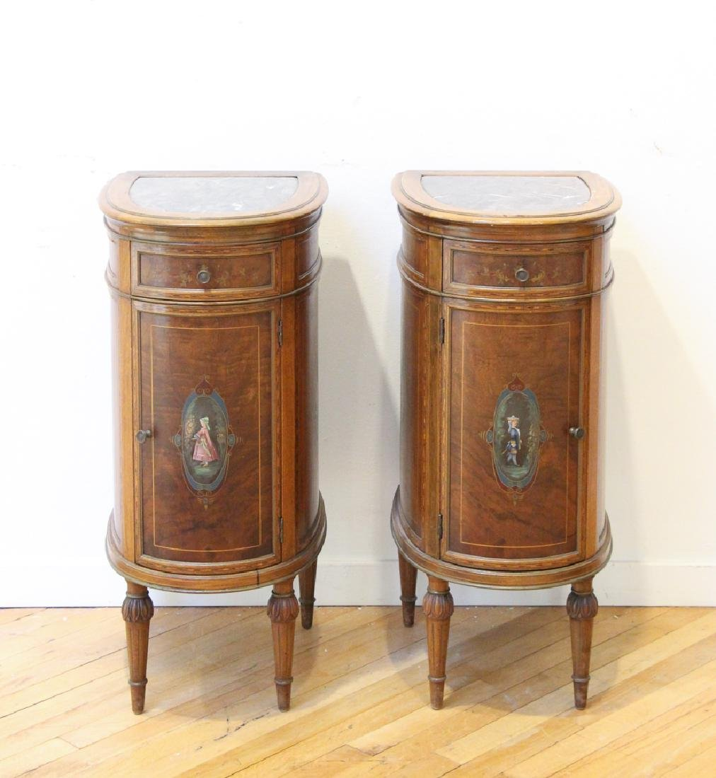 Two French Style Marble Top Night Stands