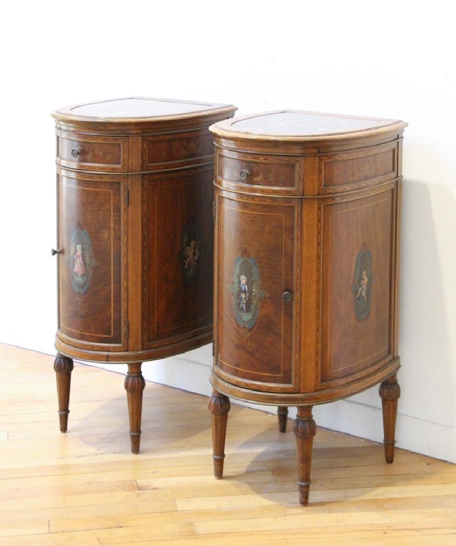 Two French Style Marble Top Night Stands - 3