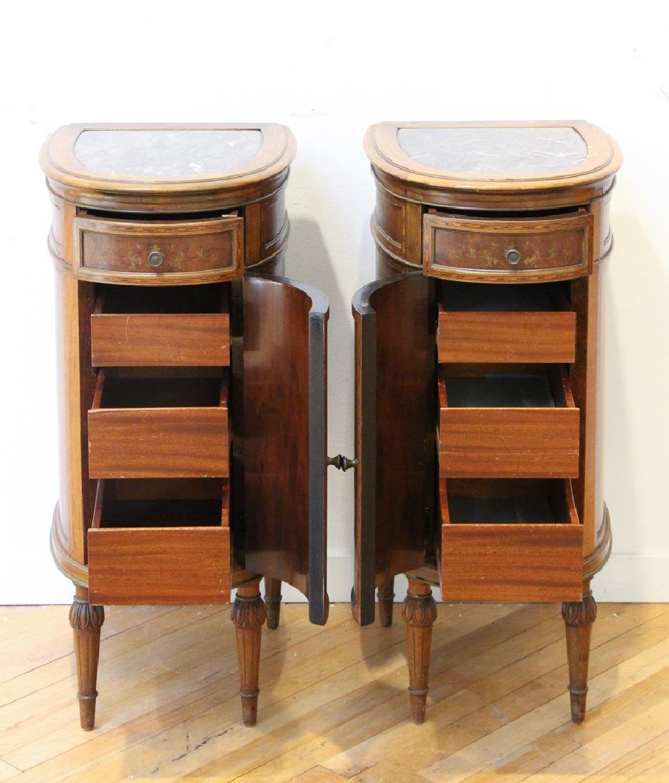 Two French Style Marble Top Night Stands - 6