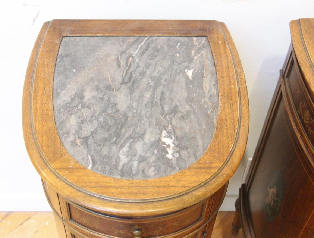 Two French Style Marble Top Night Stands - 7