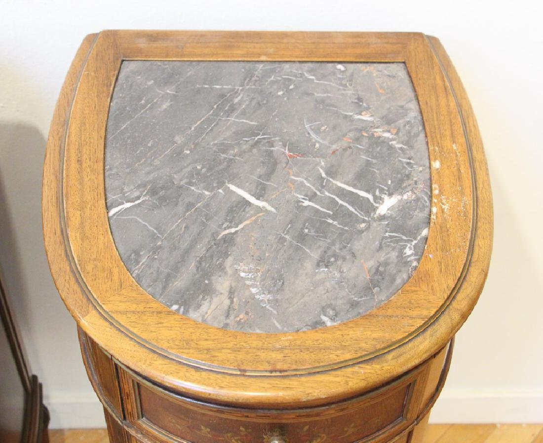 Two French Style Marble Top Night Stands - 8