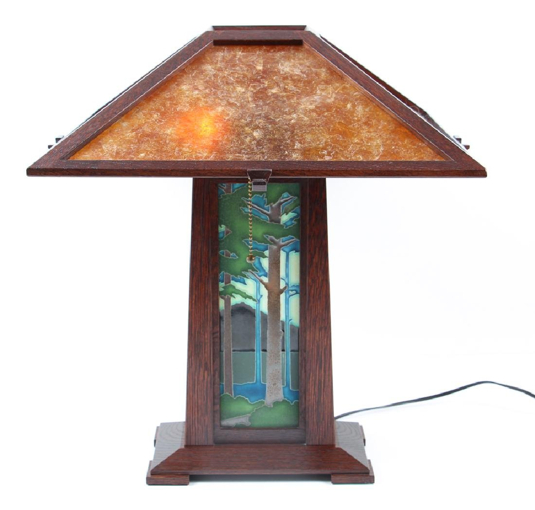 Arts and Crafts Oak Pottery Lamp with Mica Shade