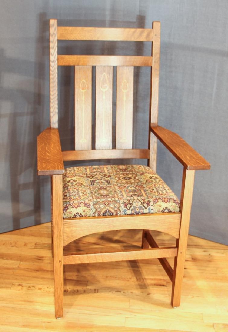 Stickley Mission Oak Armchair after Harvey Ellis Design
