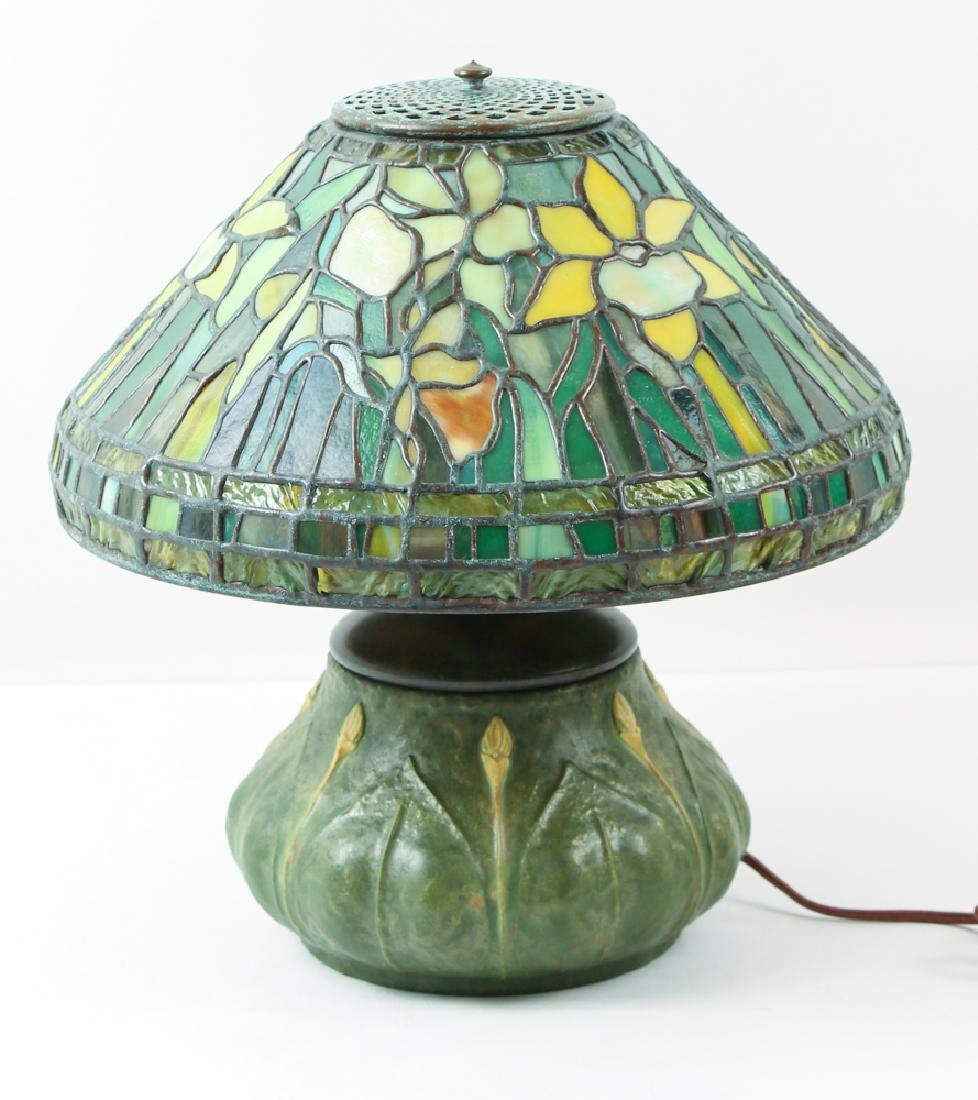 Century Studios Daffodil Leaded Glass Lamp