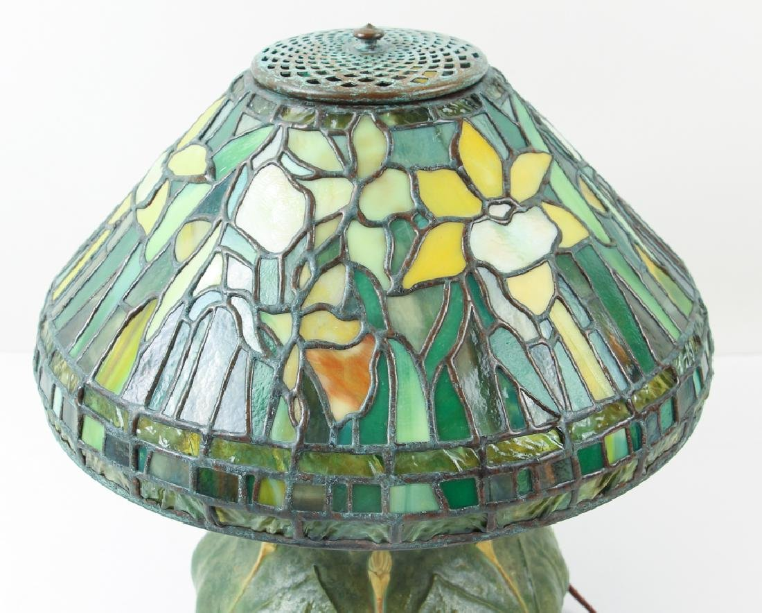 Century Studios Daffodil Leaded Glass Lamp - 2