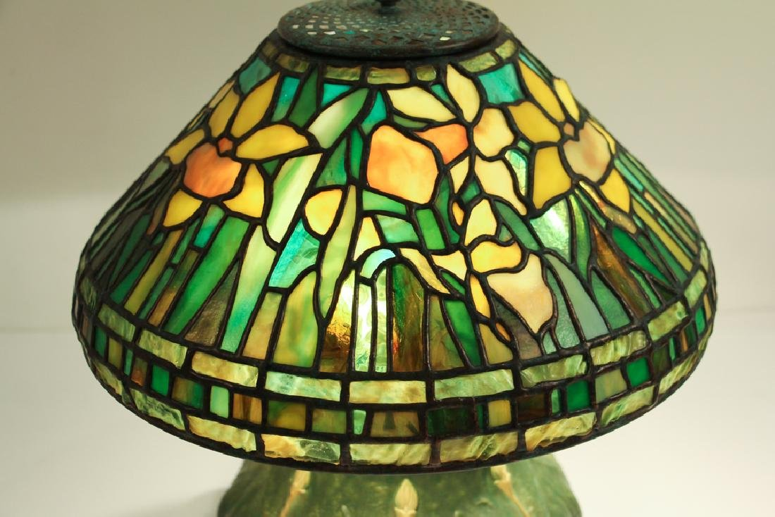 Century Studios Daffodil Leaded Glass Lamp - 4