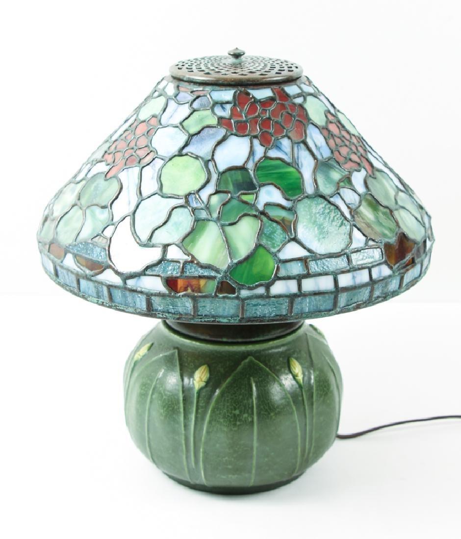 Century Studios Geranium Leaded Glass Lamp