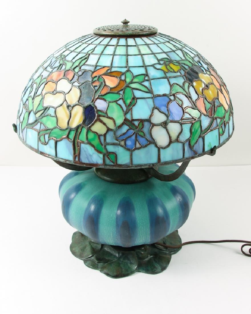 Century Studios Pansy Leaded Glass Lamp