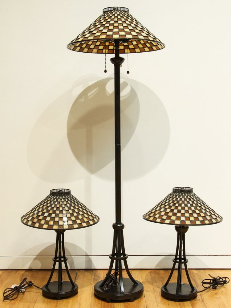 3 Quoizel Medici Checkerboard Glass Shade Lamps,  2