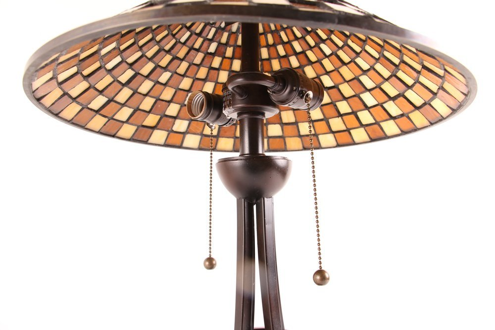 3 Quoizel Medici Checkerboard Glass Shade Lamps,  2 - 4