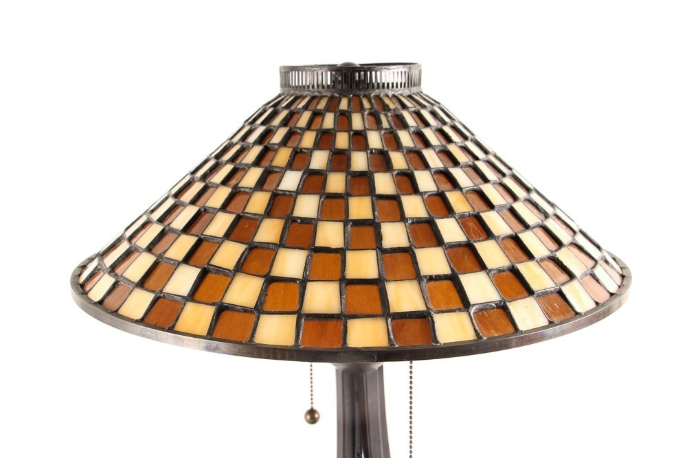 3 Quoizel Medici Checkerboard Glass Shade Lamps,  2 - 5