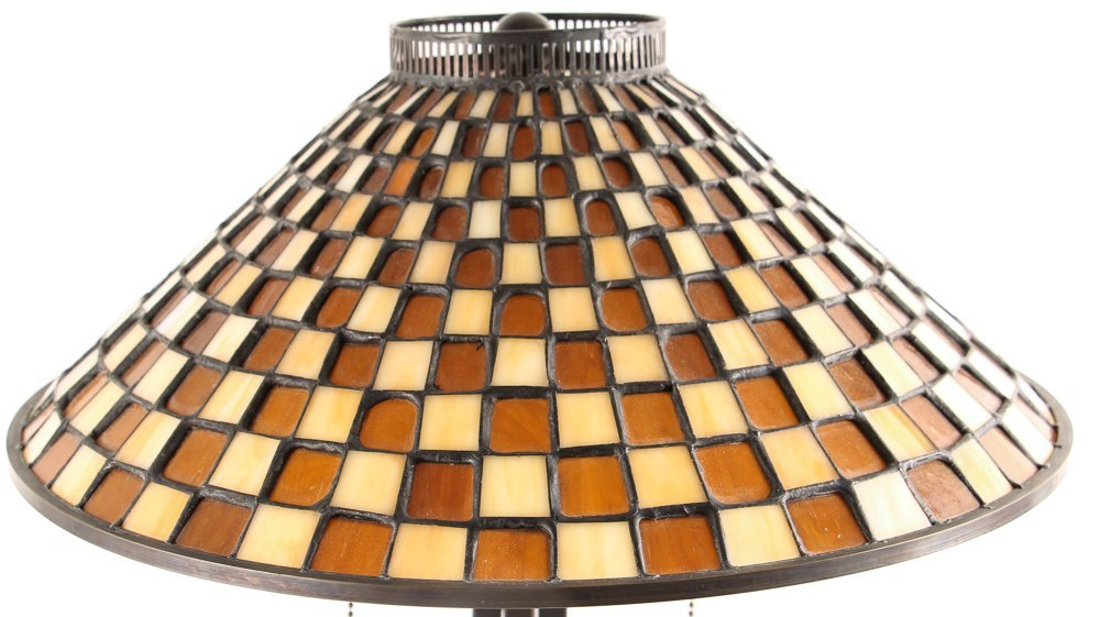 3 Quoizel Medici Checkerboard Glass Shade Lamps,  2 - 9