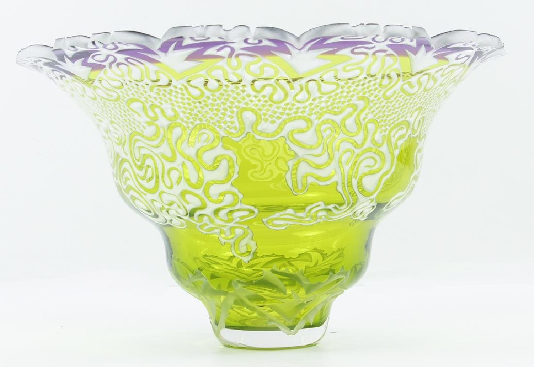 Debra May intricately sand blasted lime and purple