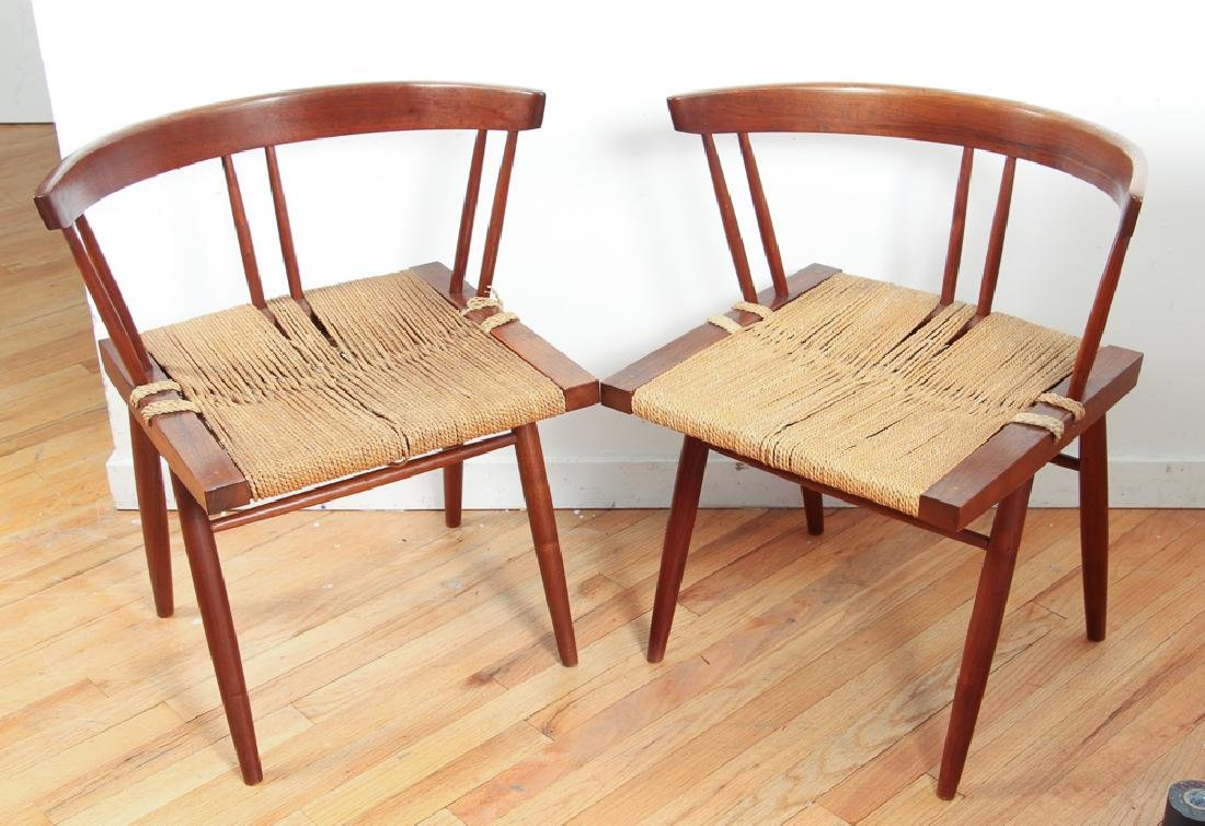 GEORGE NAKASHIMA Pair of walnut Grass-Seat chairs