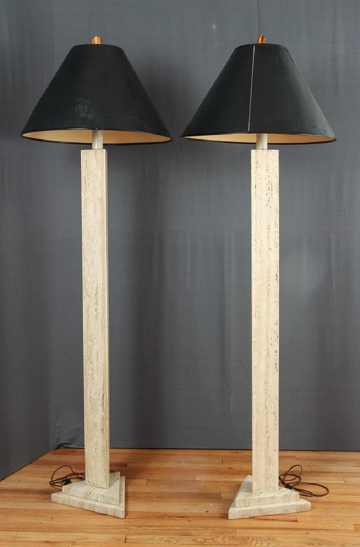 Pair of Herb Seigle Travertine Floor Lamps