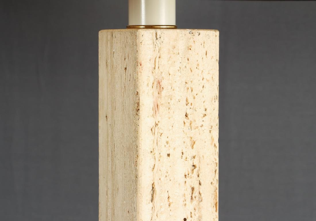 Pair of Herb Seigle Travertine Floor Lamps - 2