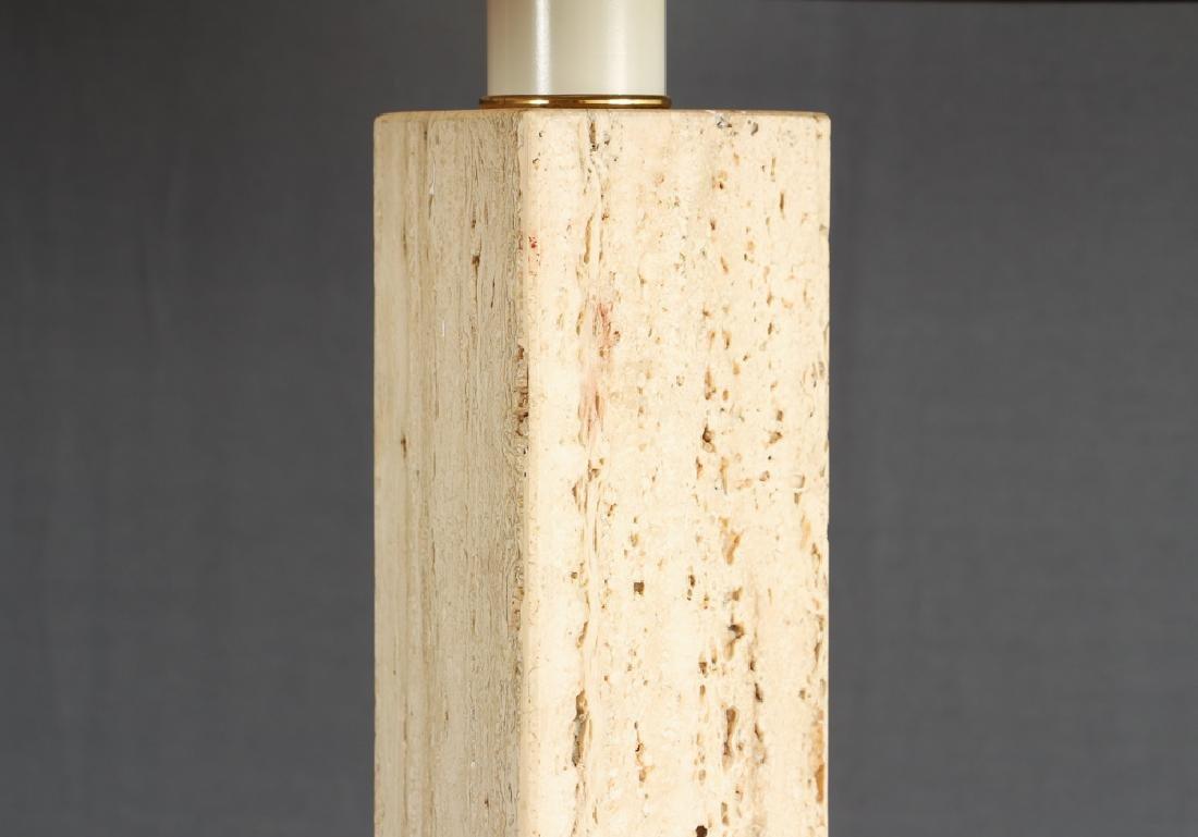 Pair of Herb Seigle Travertine Floor Lamps - 2