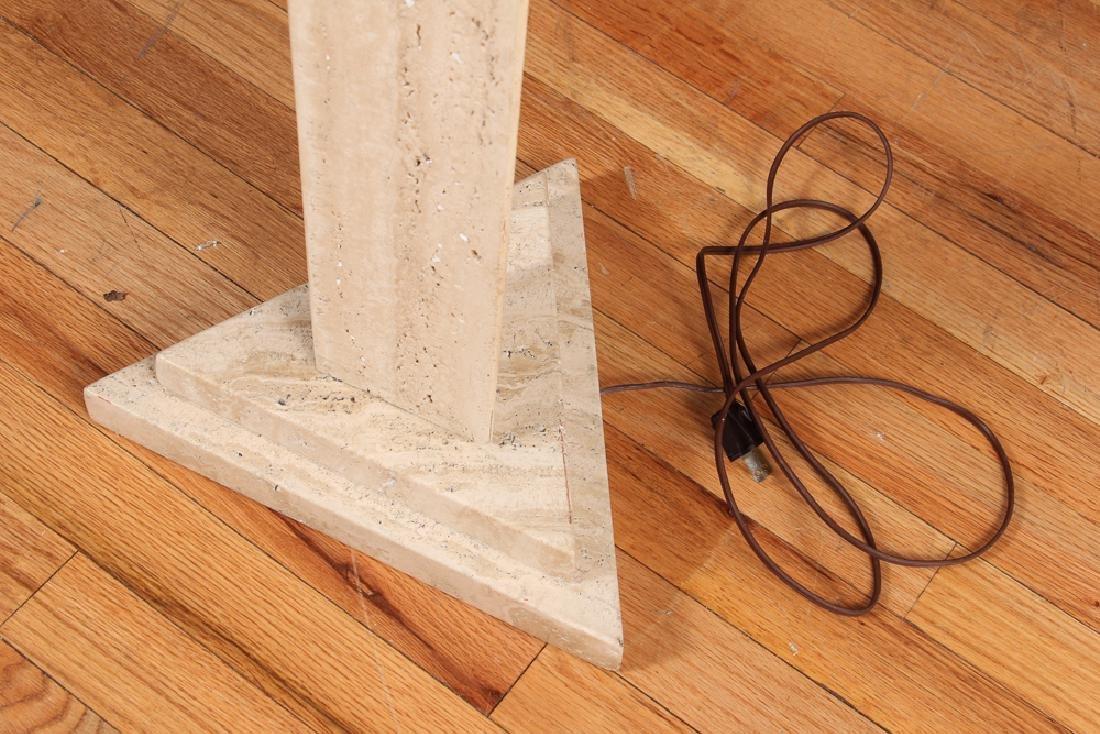 Pair of Herb Seigle Travertine Floor Lamps - 3