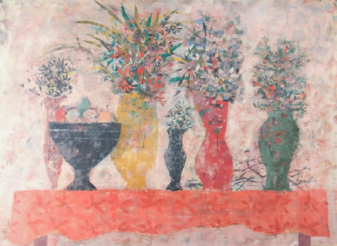 Arnold Blanch 1956 modernist Still Life with Flowers